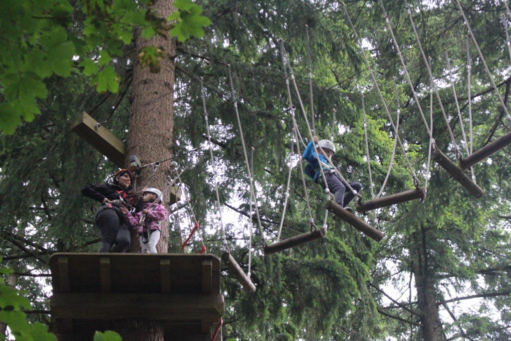Uitdaging tussen de boomtoppen in het klimbos.