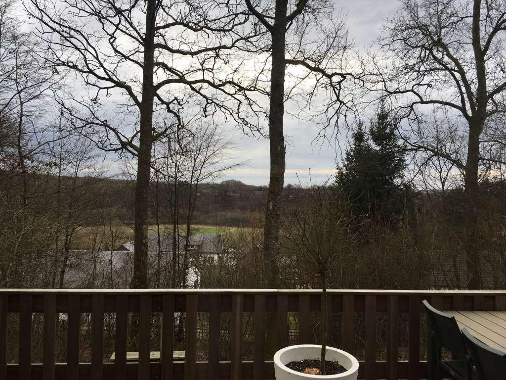 Ons uitzicht, gezien vanaf het ruime terras van ons eigen huisje