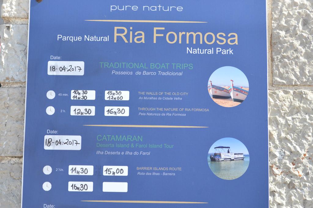 Verschillende mogelijkheden voor boottochten in Ria Formosa National Park