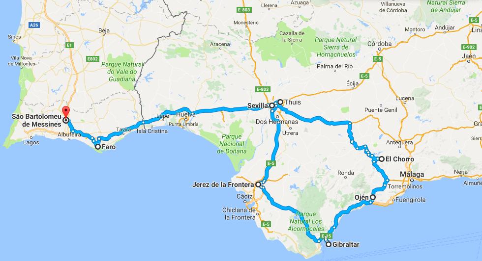 De route van onze 9-daagse rondreis door Andalusië en de Algarve.