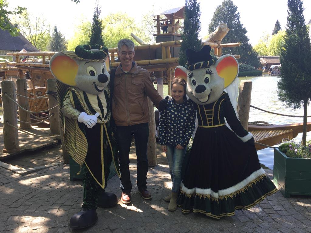 Ontmoeting met de muizen van Europapark: Ed en Edda.