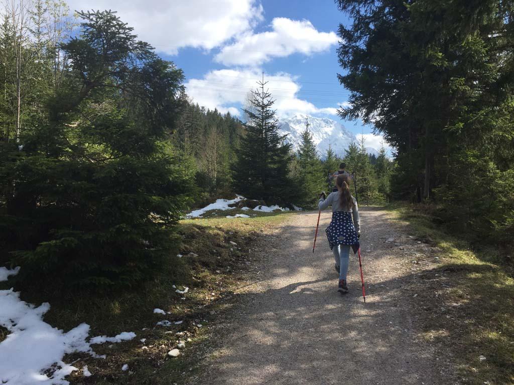 Het pad gaat aan de overzijde van de Isar grotendeels door het bos.