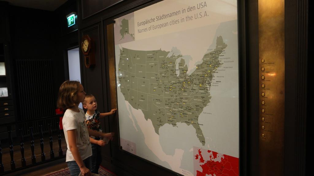Op deze kaart is te zien welke Amerikaanse steden zijn vernoemd naar Duitse steden.