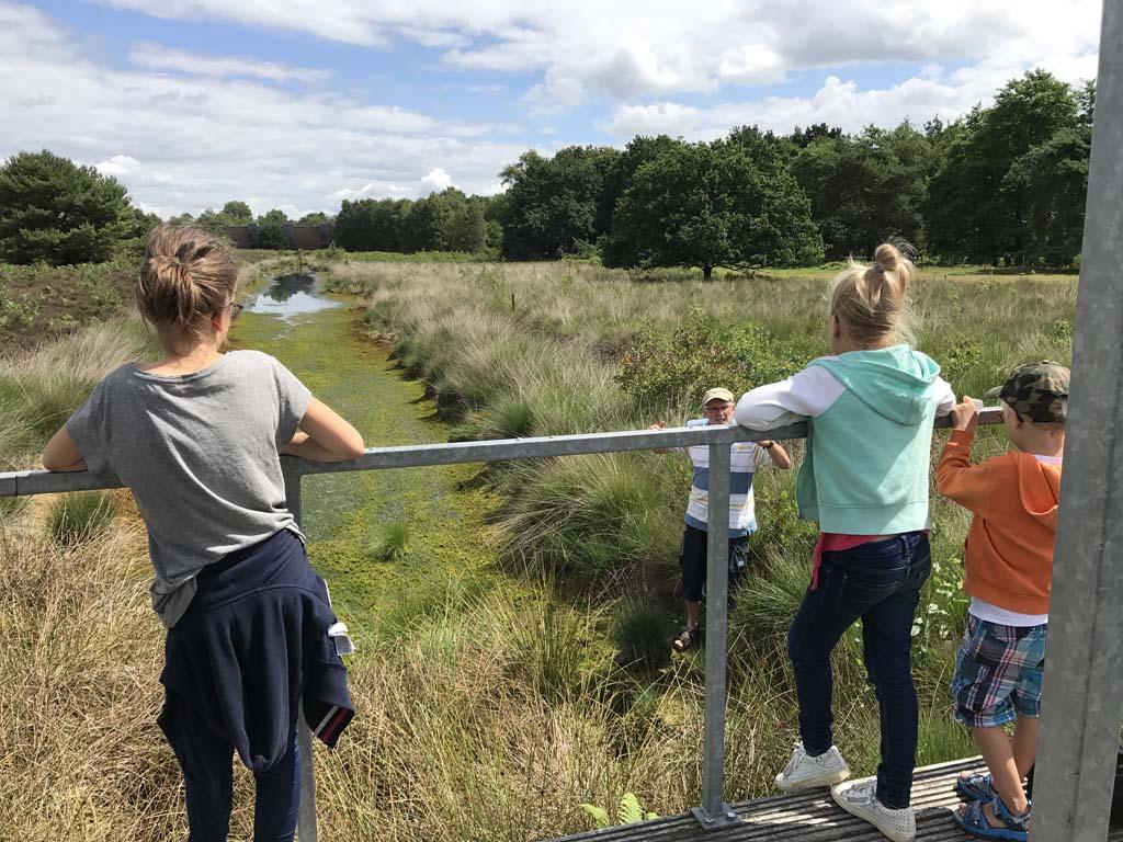 Bij het museum bevindt zich ook nog een stuk veengrond. De meiden zien nu hoe beweeglijk deze grond nu echt is in regio Emsland
