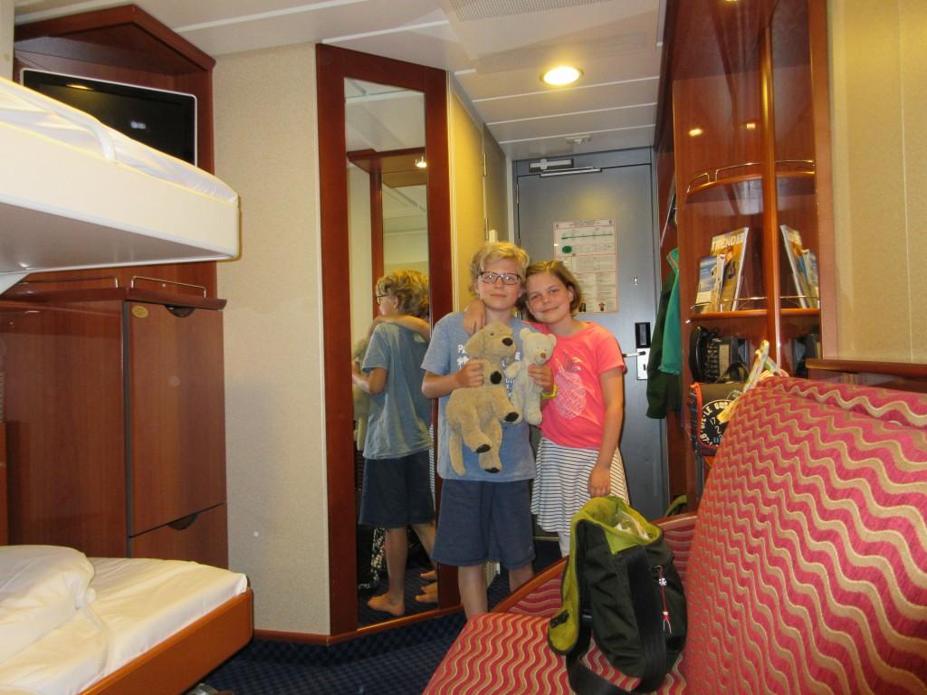 Onze hut aan boord van de ferry Kiel-Oslo