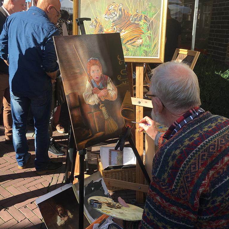 Kunstschilder in actie