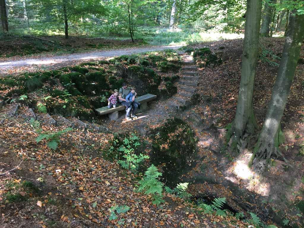 Spannend bankje ontdekt! Door telkens iets nieuws te kunnen ontdekken, blijft een wandeling met kinderen leuk.