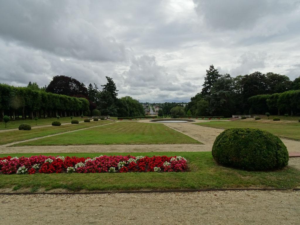 De kasteeltuinen van Château Craon in regio Mayenne.