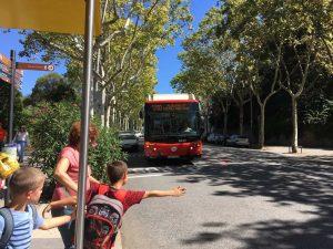 Met de bus naar Montjuic.