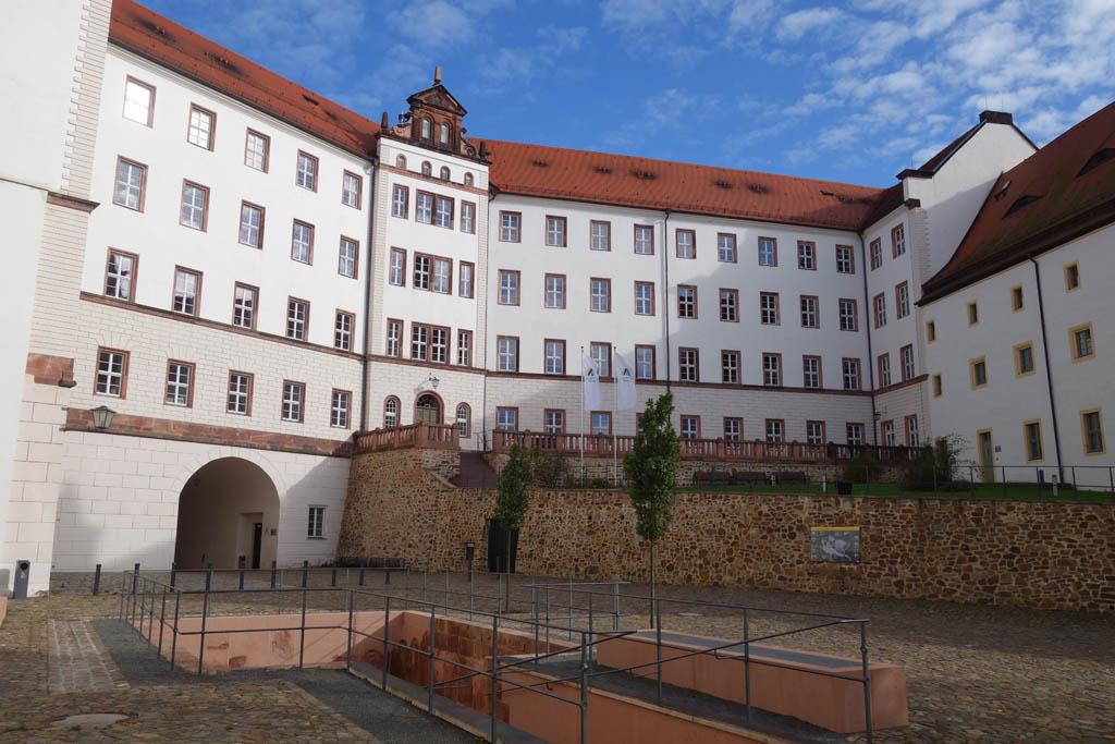 Het eerste binnenplein van Schloss Colditz