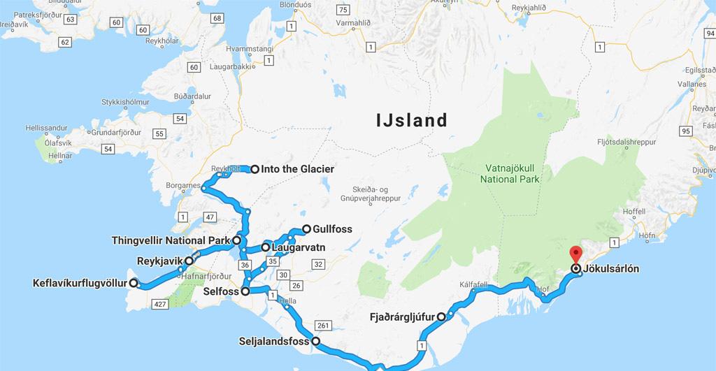 Globale route van onze rondreis IJsland.