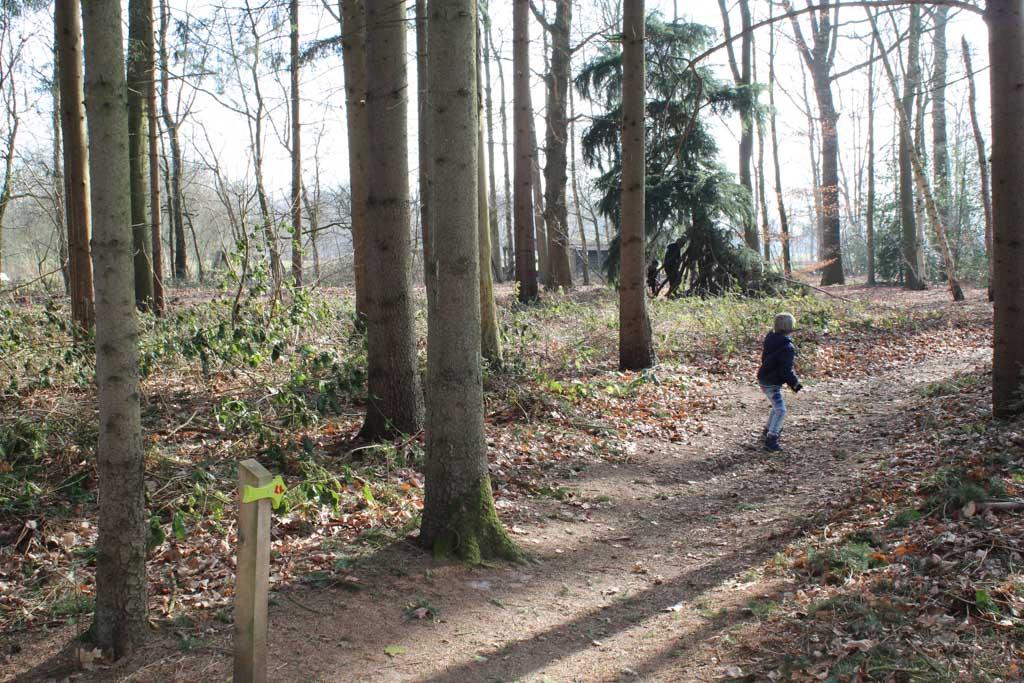 We volgen de rode laarsjes door het bos.