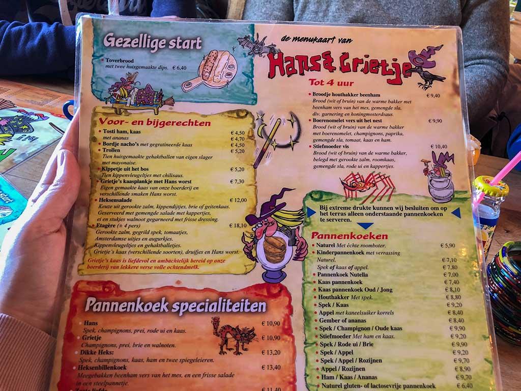 Zelfs de menukaart spreekt tot de verbeelding