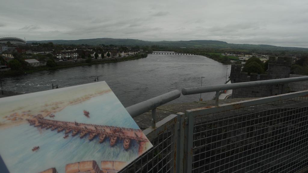 Uitzicht vanaf de toren, inclusief plaatje van hoe het vroeger was.