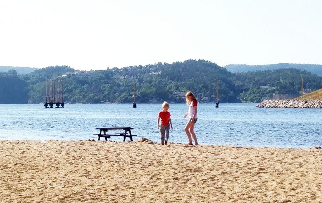Het fijne strand bij ons appartement in Kristiansand