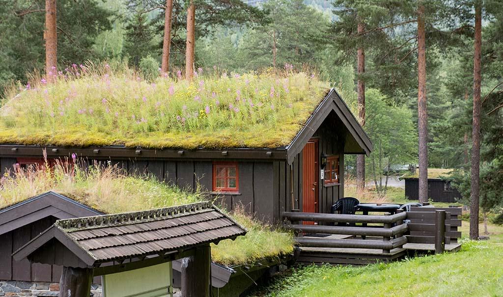 Echte Noorse huisjes op het vakantiepark van Hunderfossen