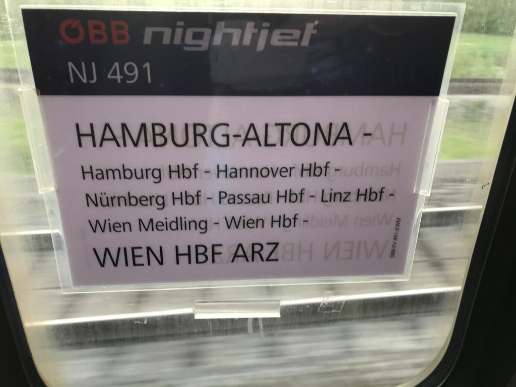 De nachttrein van Hannover naar Wenen.