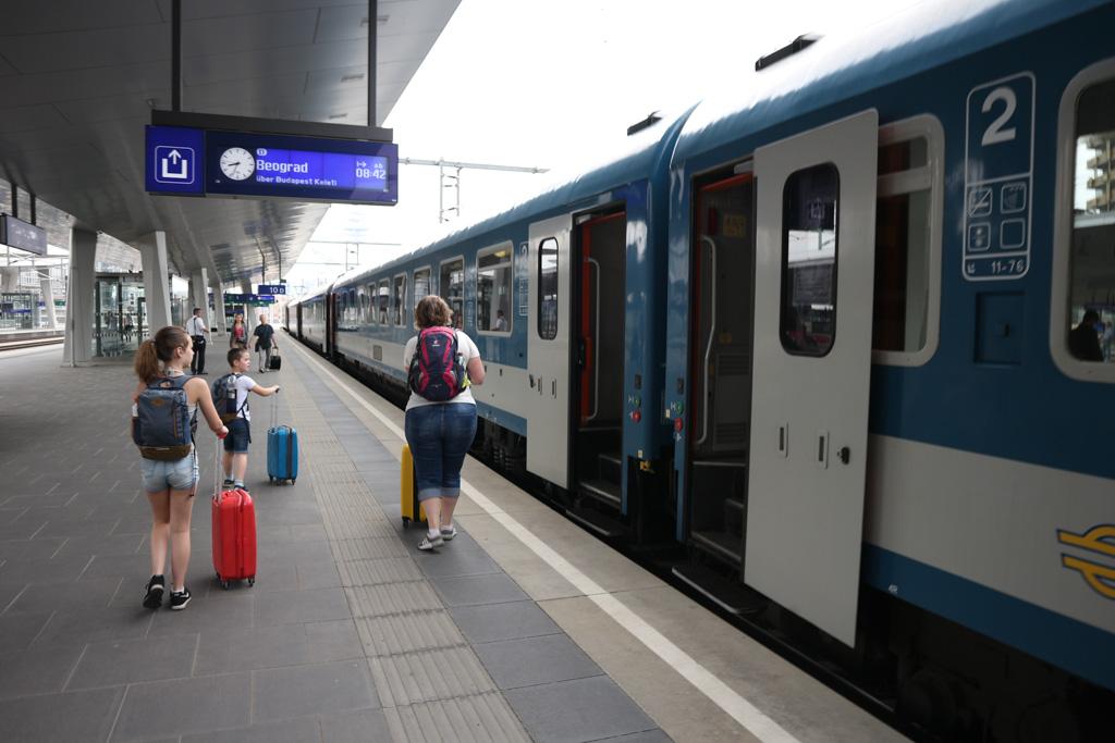 De trein van Wenen naar Boedapest.