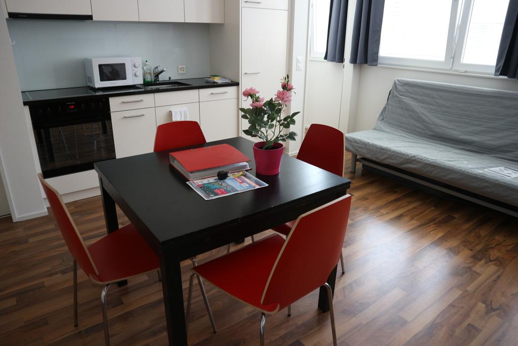 Ruime woonkamer met keuken en slaapbank.