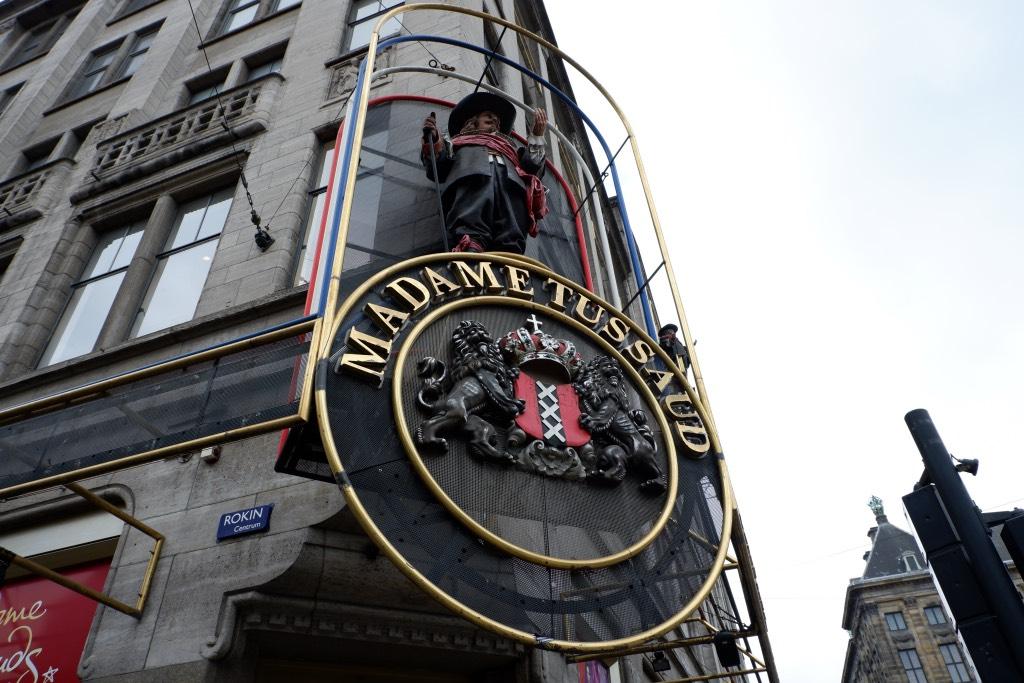 De gevel van Madame Tussauds in Amsterdam