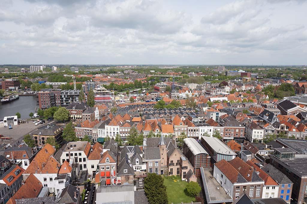 Het uitzicht over Zwolle vanaf de Peperbus