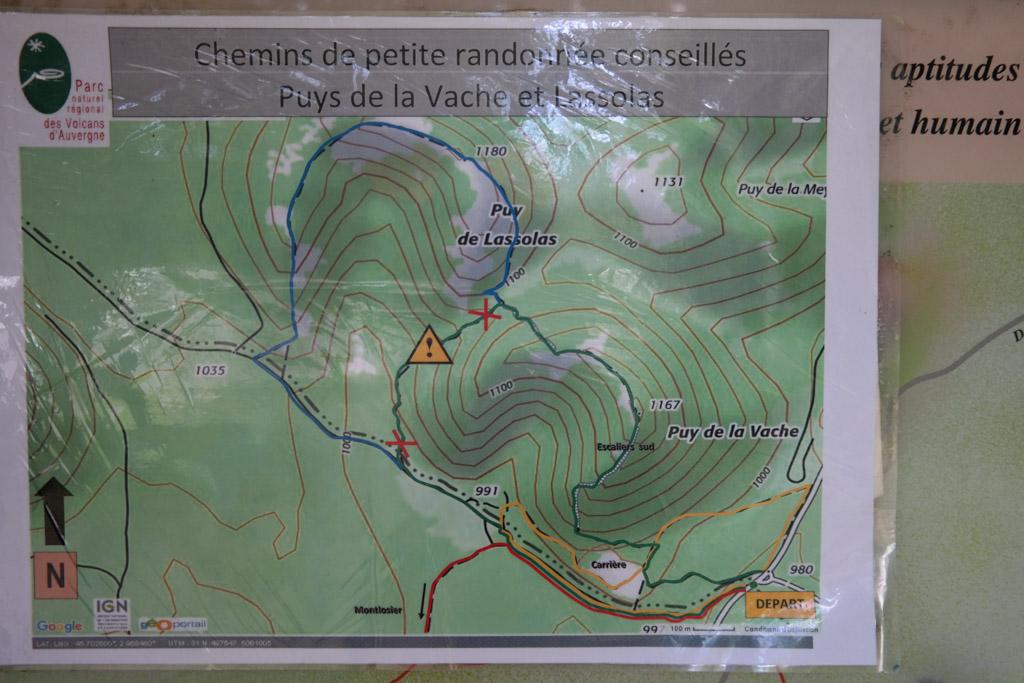 De wandelroute over de Puy de la Vache en Puy de Lassolas