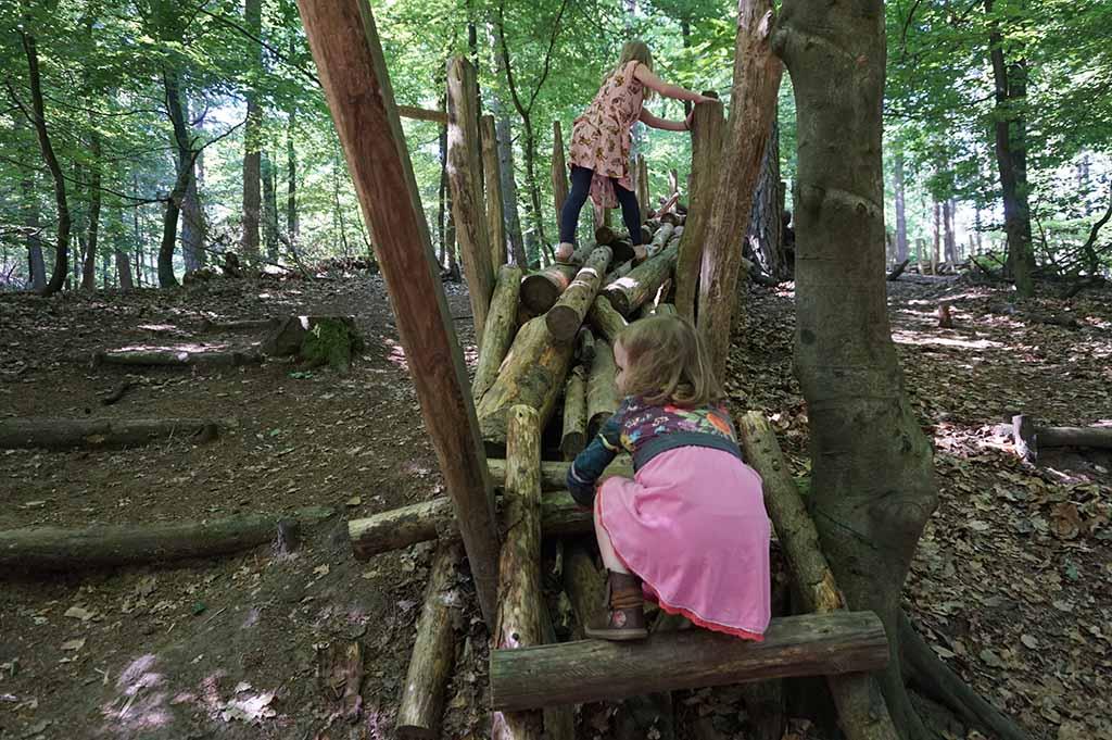 Klimmen en klauteren over de losliggende boomstammen