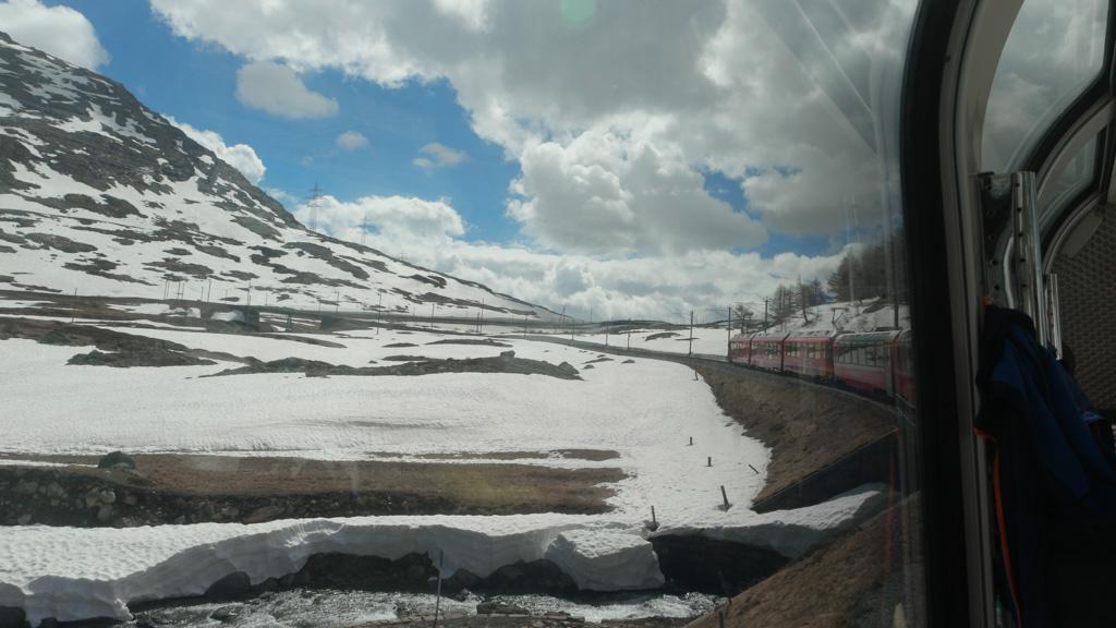 Schitterend om de rode trein door de witte sneeuw te zien rijden.