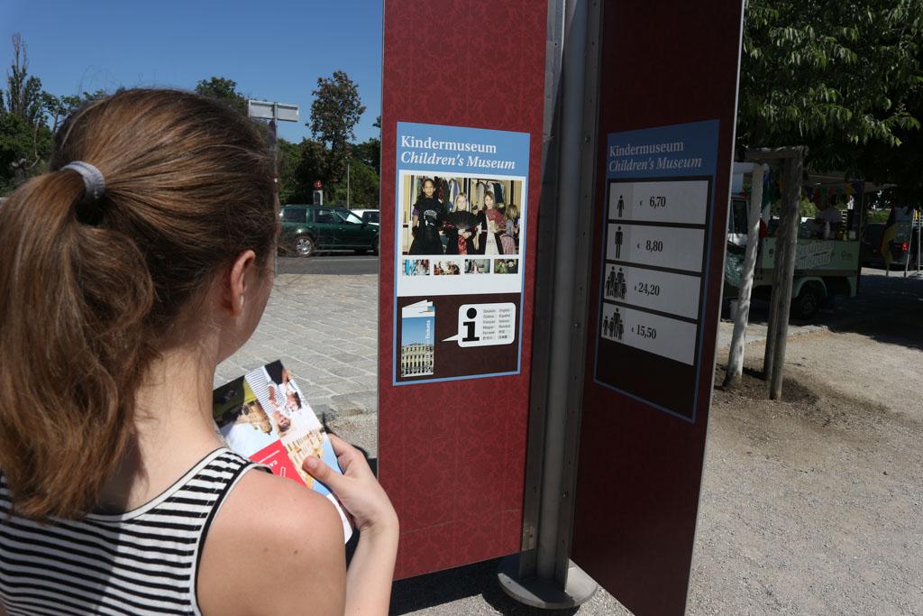 Op weg naar het paleis komen we deze bordjes tegen met informatie over de bezienswaardigheden, waaronder het Kindermuseum.