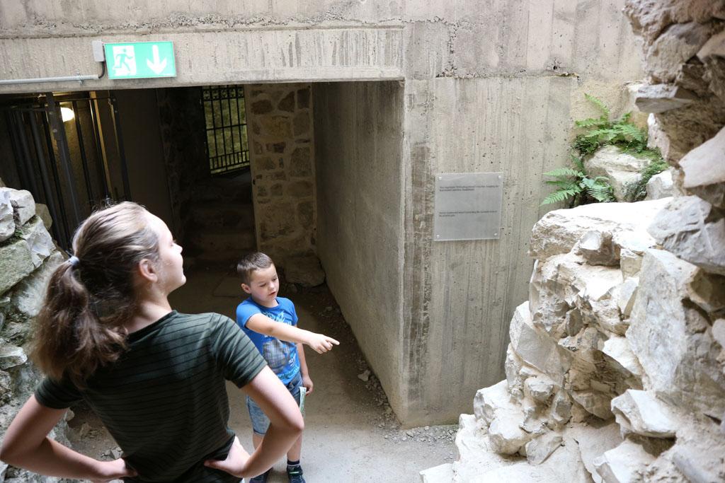 Een deel van de ondergrondse gang is voorzien van glazen plafond, hierdoor kunnen we alles goed bekijken.