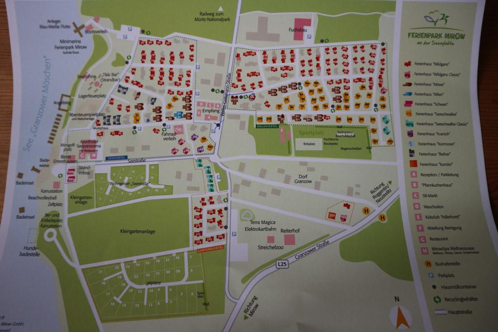 Dit plattegrond geeft een indruk van het vakantiepark en de ligging van de voorzieningen.