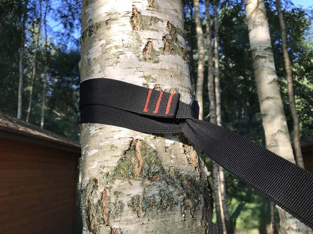 Deze banden gaan om de boom en zitten daarna als een soort strop vast.
