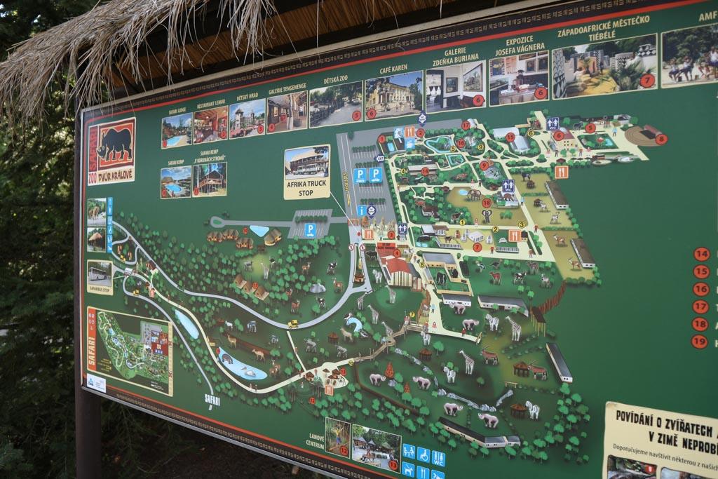 Kaart van Safaripark Dvur Kralove.
