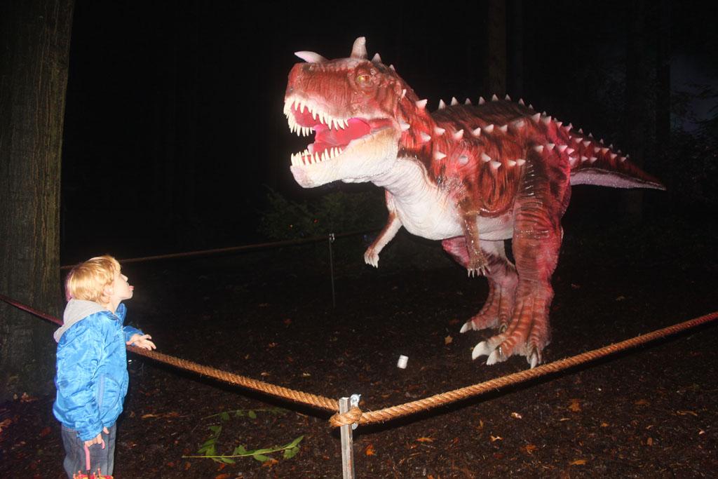 Oog in oog met dino's in het donker (foto: Jolinda)