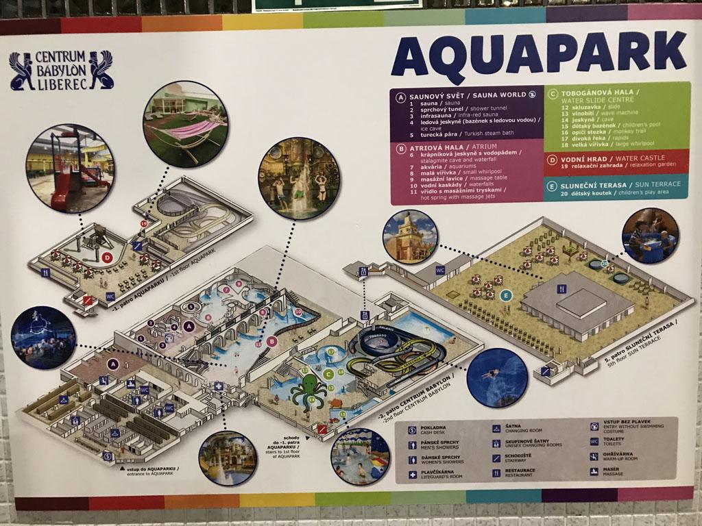 Het Aquapark bestaat uit verschillende gedeeltes.
