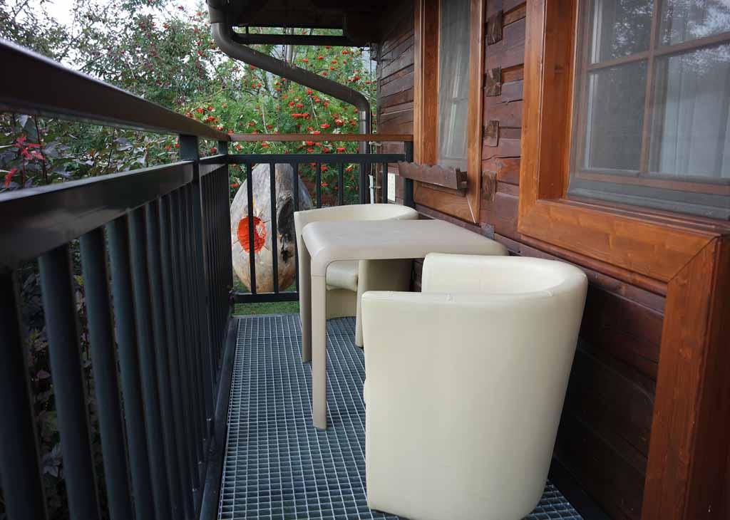 Een klein maar fijn balkon met uitzicht over de tuin