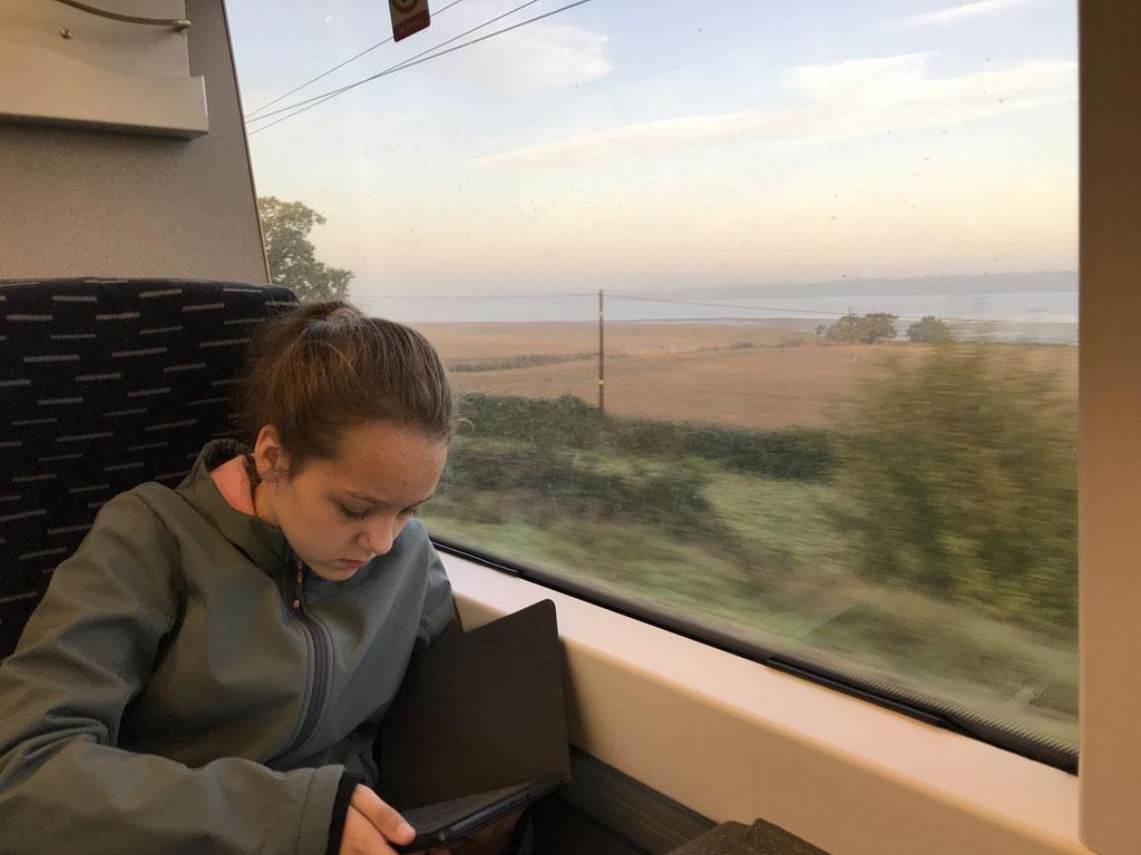 Met de trein naar Cambridge.