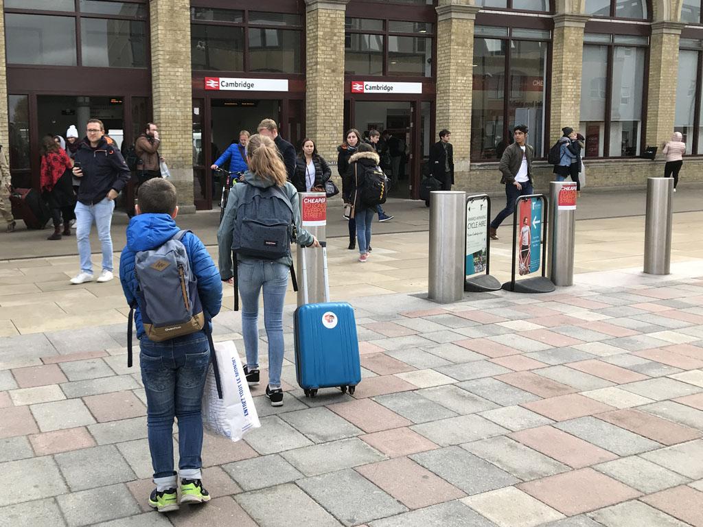 Op weg naar station Cambridge.