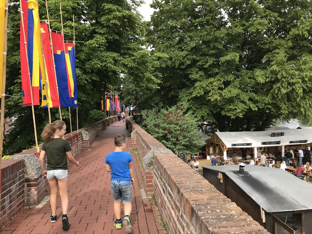 Lopend over een oude stadswal zien we de Donau en een zomers festival op de oever.