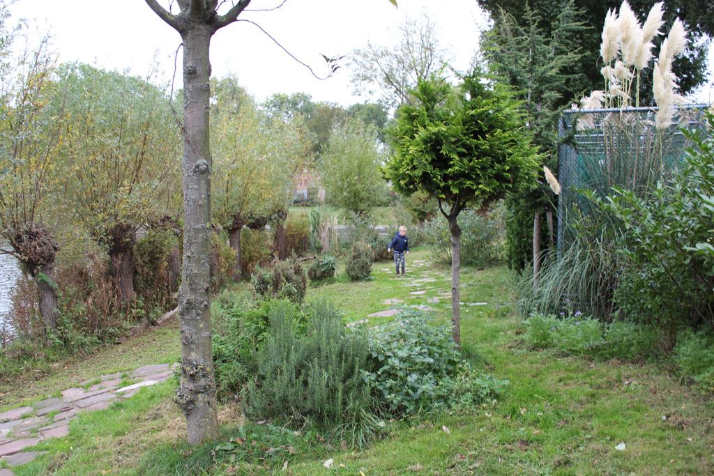 Het eiland van de dierentuin is prachtig groen. Er staan ook bijenkasten.