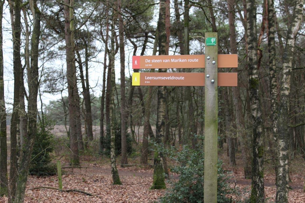 De rode route, De Steen van Mariken, is 3,5 kilometer. Een prima afstand voor onze kinderen van 5 en 7 jaar.