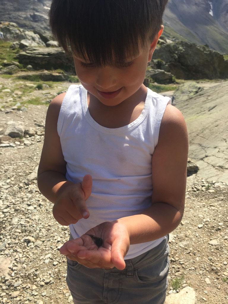 Kijk, een kikkervisje gevangen!