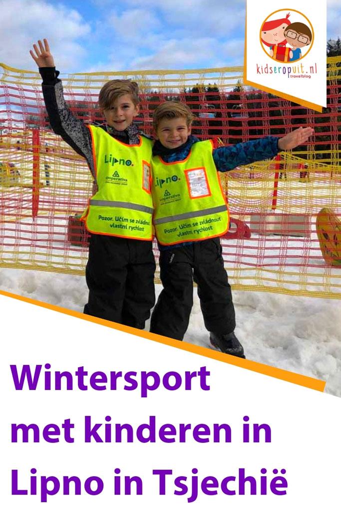 Wintersport met kinderen in Lipno in Tsjechië.