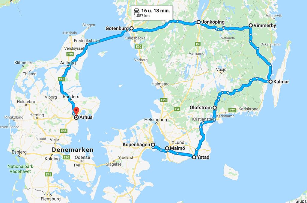 De route van de rondreis met kinderen in Denemarken en Zweden