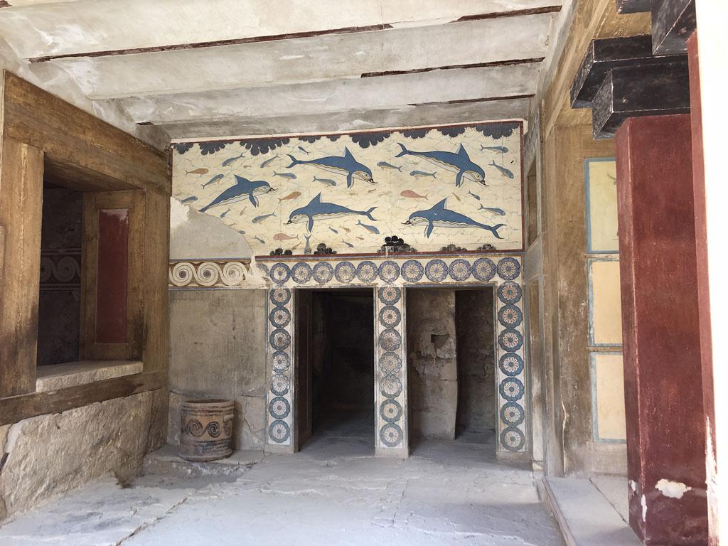 Muurschilderingen in Knossos.