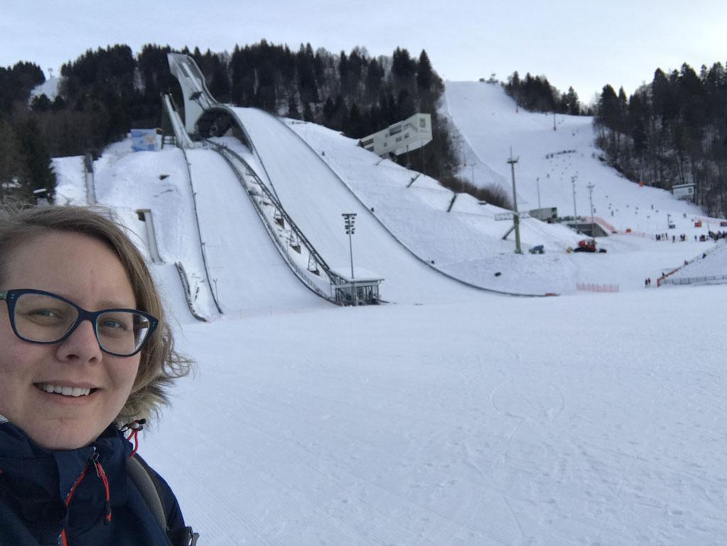De beroemde skischans van Garmisch-Partenkirchen.
