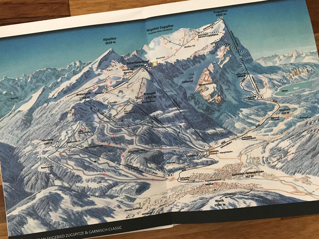 Handig kaartje van het skigebied in Garmisch-Partenkirchen.