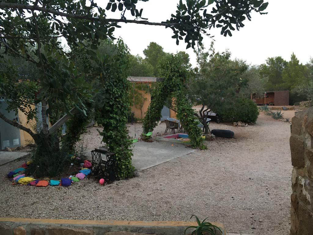 Mozaiekstenen rondom de bomen.