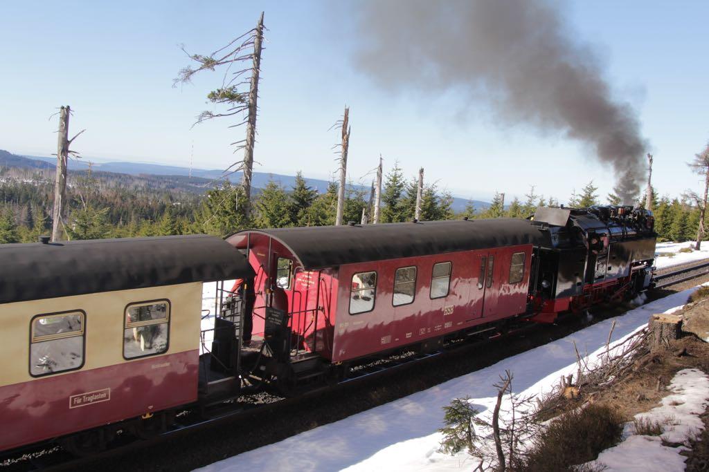 De stoomtrein naar het hoogste punt van de Harz: Brocken.