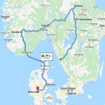 De route van de rondreis met kinderen naar Zweden, Noorwegen en Denemarken